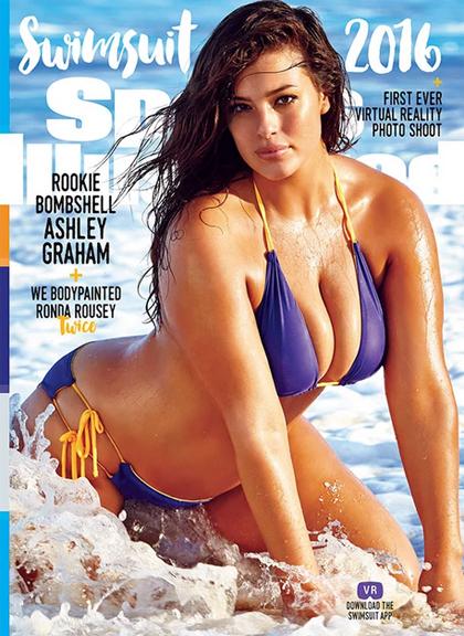 Ashley Graham - mẫu ngoại cỡ đầu tiên lên trang bìa đồ bơi Sports Illustrated. Ảnh: SI.