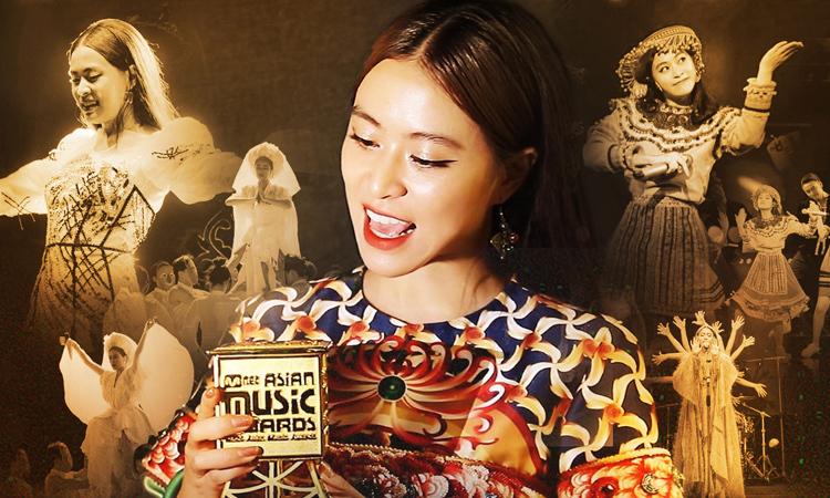 Hoàng Thùy Linh nhận giải âm nhạc châu Á Mnet. Ảnh: H.T.L