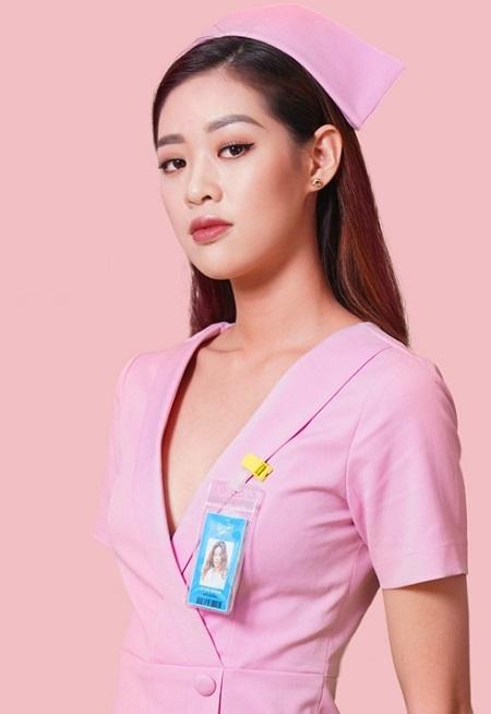 Tạo hình của Khánh Vân trong Bệnh viện thần ái. Ảnh: YA Film.