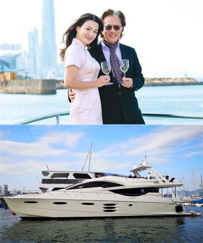 Vợ chồng Trần Thiếu Hà trên du thuyền. Ảnh: Mpweekly.