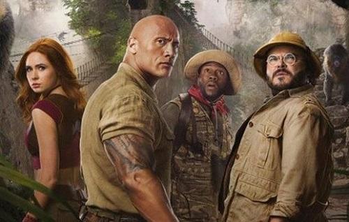 Từ trái sang: Karen Gillan, The Rock, Kevin Hart và Jack Black. Ảnh: Sony.