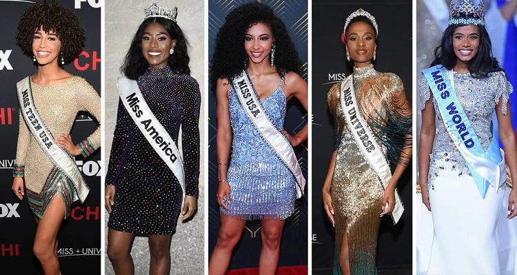 Dàn người đẹp đăng quang Miss Teen USA, Miss America, Miss USA, Hoa hậu Hoàn vũ, Hoa hậu Thế giới năm 2019 (thứ tự từ trái qua). Ảnh: NY Times.