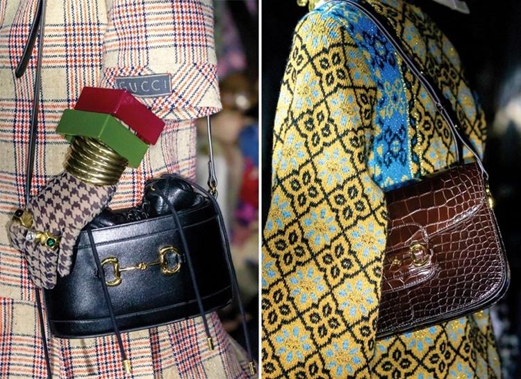Hàm thiếc ngựa là một trong những chi tiết mang tính biểu tượng của nhà mốt Gucci, lấy cảm hứng từ bộ môn đua ngựa của giới quý tộc Anh. Nó xuất hiện lần đầu năm 1953, trên đôi giày loafers nổi tiếng được sáng tạo bởi Aldo Gucci. Năm 1955, chi tiết này có mặt trên các mẫu túi của Gucci. Giám đốc sáng tạo Alessandro Michele đã mang biểu tượng hàm thiếc ngựa trở lại trên các mẫu túi xách Gucci 1955 Horsebit. Sản phẩm có giá từ50 triệu đồng trở lên, tùy chất liệu và họa tiết.