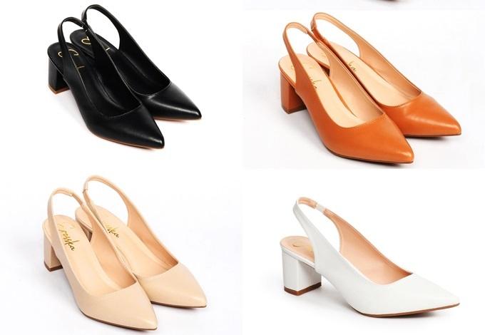 Giày cao gót Slingback Erosska EH015 làm từ da PU cao cấp, chất liệu lót mềm và chiều cao 5 cm. Thiết kế đem lại vẻ nữ tính, ôm chân phái nữ. Tránh mang sản phẩm khi trời mưa hoặc thời tiết xấu dẫn đến bong tróc. Sản phẩm đang ưu đãi đến 50%, còn 149.000 đồng (giá gốc 300.000 đồng).