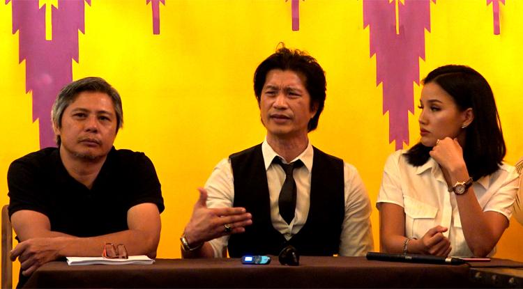 Từ trái qua: anh Minh Đô - chủnhiệm cũ ở đoàn phim của Lê Văn Kiệt, diễn viên Dustin Nguyễn, nhà sản xuất Bebe Phạm. Ảnh: Mai Nhật.