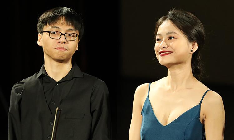 Chị em hai nghệ sĩ trẻ Bảo Quyên (phải) và Quang Tiến. Ảnh: QT.
