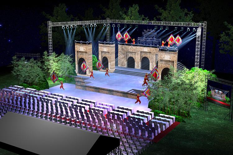 Phối cảnh 3D sân khấu Những mùa xuân huyền thoại. Ảnh: TT.