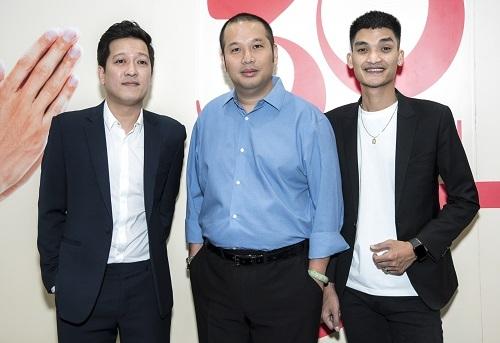 Từ trái sang: Trường Giang, Quang Huy, Mạc Văn Khoa trong buổi giới thiệu phim. Ảnh: CGV.