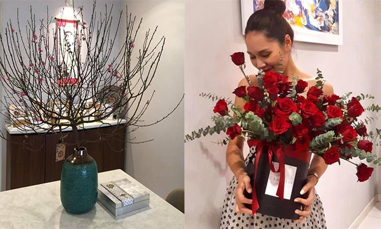 Hoa hậu Hương Giang mua hoa hồng, đào về trang hoàng nơi ở để có không khí xuân về.