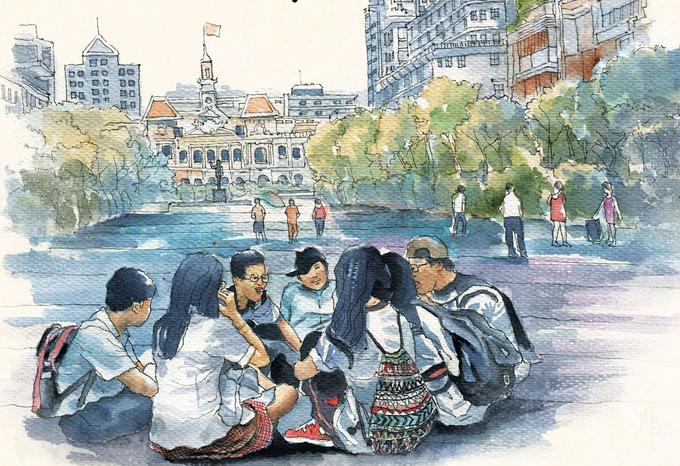 Phố thị Sài Gòn qua tranh