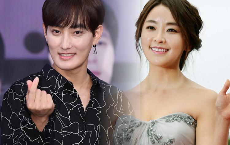 Kangta (trái) và Jung Yoo Mi từng vướng tin đồn hẹn hò song họ phủ nhận. Ảnh: Naver.
