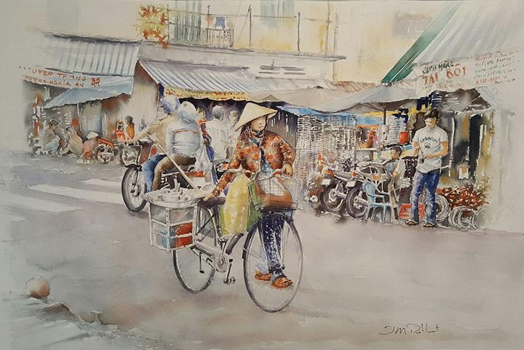 Ông ấn tượng với cảnh bán buôn, xe cộ tấp nập trên đường phố Sài Gòn. Tôi vẽ nhiều về Sài Gòn vì phần lớn bạn bè tôi sống ở đây. Họ đến từ nhiều vùng miền khác nhau ở Việt Nam. Chúng tôi có thể tìm được nhiều loại đồ ăn của các miền tại Sài Gòn, họa sĩ nói.