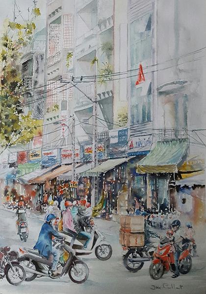 Loạt tranh minh họa được trình bày trong tạp bút Sài Gòn, ruổi rong nỗi nhớ của tác giảĐào Thị Thanh Tuyền.