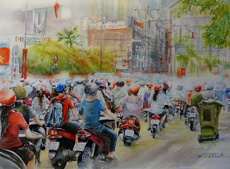 Cây cọ người Phápcảm động vì tranh vẽcủa ông được đưa vào minh họa cho một cuốn sách về Sài Gòn.