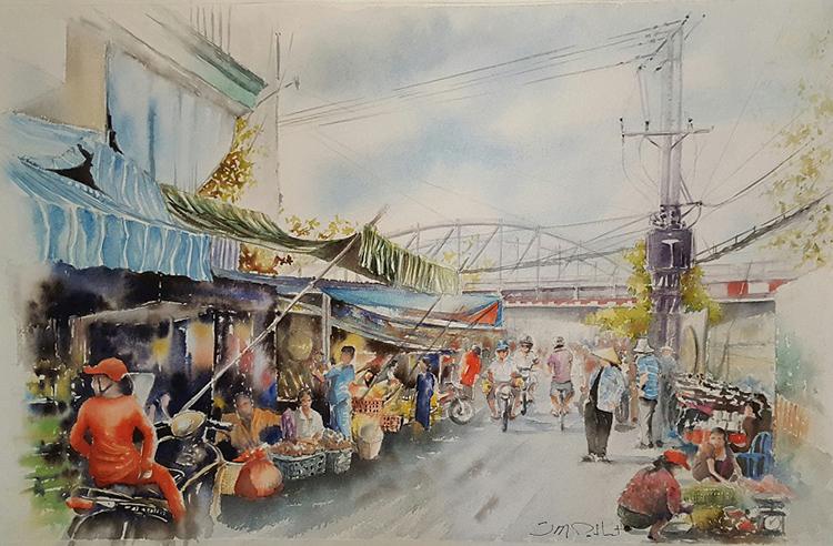 Một góc chợ gần cầu Bình Lợi - một trong những cây cầu lâu đời nhất của Sài Gòn.
