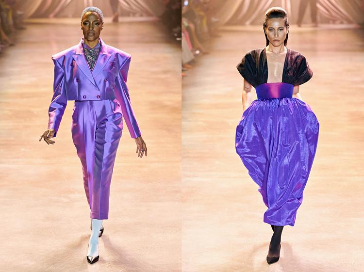 Cấu trúc trang phục vẫn là thế mạnh trong những thiết kế ready-to-wear (may sẵn) của Christopher John Rogers. Lần này, anh mang tới kết cấu trái dâu với điểm nhấn chính ở eo, áo tay phồng hoặc cầu vai lớn, quần được tạo khối hình tam giác, ca ngợi đường nét cơ thể phụ nữ.