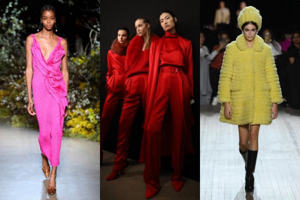 Màu nổi là một trong những xu hướng nổi bật được giới thiệu cho mùa thu 2020. Điều này gây ngạc nhiên bởi trong nhiều năm qua, đen và những tông màu trầm luôn chiếm ưu thế vượt trội trong mùa thu đông. Các hãng Carolina Herrera, Jason Wu, Marc Jacobs và Sally LaPointe đã đưa ra tuyên ngôn với các thiết kế đơn sắc màu nổi.