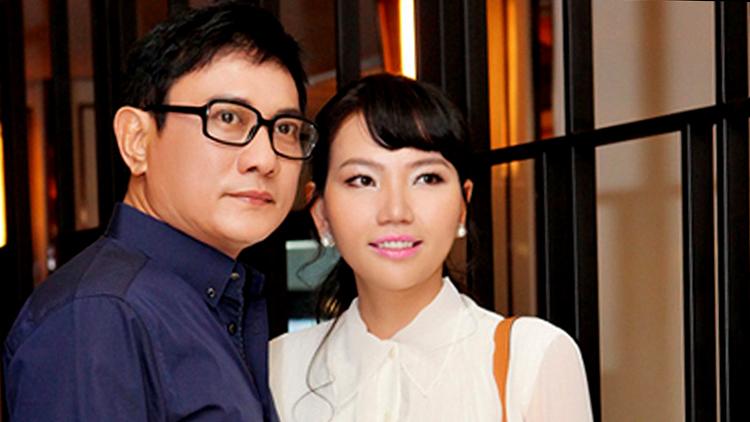 Hoàng Phúc bên vợ - doanh nhân Uyên Phương. Ảnh: Uyên Phương.
