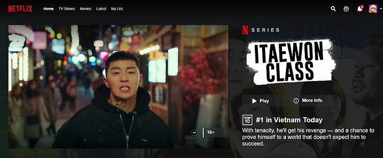Tầng lớp Itaewon dẫn đầu Top phim người Việt xem Netflix