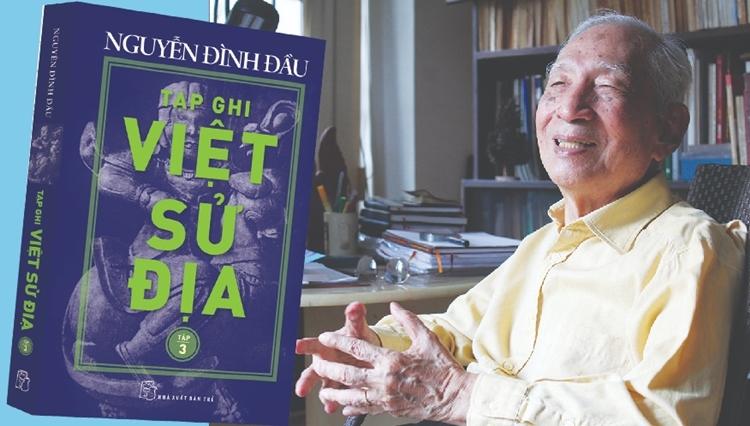 Nhà nghiên cứu Nguyễn Đình Đẩu cùng tác phẩm Tạp ghi Việt Sử Địa. Ảnh: NXB Trẻ.