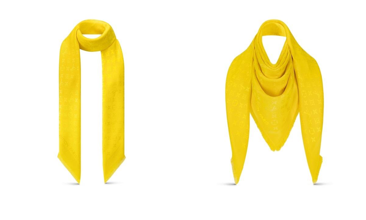 Mẫukhăn choàng Monogram cổ điểnchế tác từ len và lụa cao cấp, tạo điểm nhấn với các cạnh tua rua vàkích thước rộng, có thể tạo nhiều kiểu dáng. Thiết kế có giá 605 USD (hơn 17 triệu).
