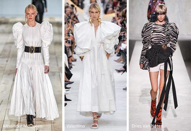 Từ thảm đỏ đến những chiếc áo thun trắng đời thường, kiểu áo tay phồng có thể hiện đại hóa mọi chân dung cổ điển. Thiết kế này tôn dáng khi tăng thêm kích thước và tạo độ phồng ở cầu vai, đem lại cảm giác vòng eo nhỏ gọn. Các thiết kế trong BST thời trang ứng dụng mùa xuân 2020 của Alexander MCQueen, Valentino, Dries Van Noten được đánh giá cao khi xuất hiện trên sàn diễn. Ảnh: Glowsly.