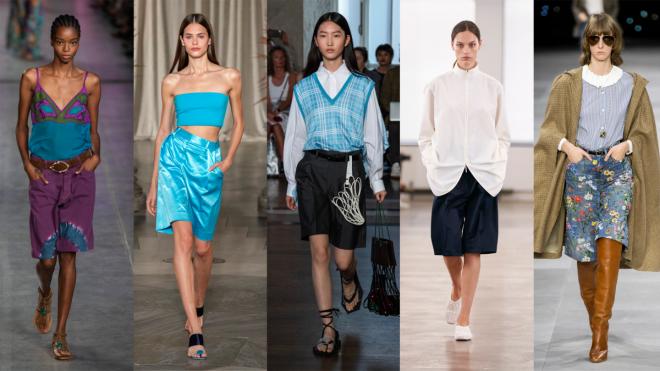Theo Elle, xuân 2020 là mùa của những mẫu âu phục phiên bản quần ngắn, được phối thành bộ hoặc tách riêng. Bên cạnh đó, những mẫu váy phổ biến có thể bị soán ngôi bởi những chiếc quần Bermuda hoặc quần váy. Nhiều tín đồ bị thu hút bởi mẫu quần Bermuda trong BST xuân 2020 của các thương hiệu Alberta Ferretti, Staud, Toga, The Row and Celine (từ trái qua). Ảnh: Fashionista.