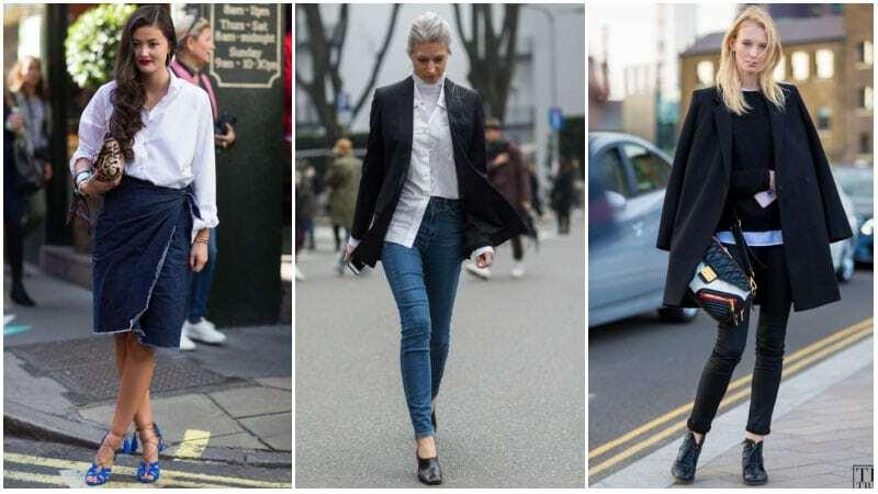 Denim là gợi ý của các chuyên gia cho giới văn phòng, vừa dễ mặc, vừa thời trang nếu mix-match hợp trang phcụ. Chiếcskinny jeans hay chân váy denim nổi bật hơn khi phối với mẫuáo trắng cách điệu và giày cao gót.