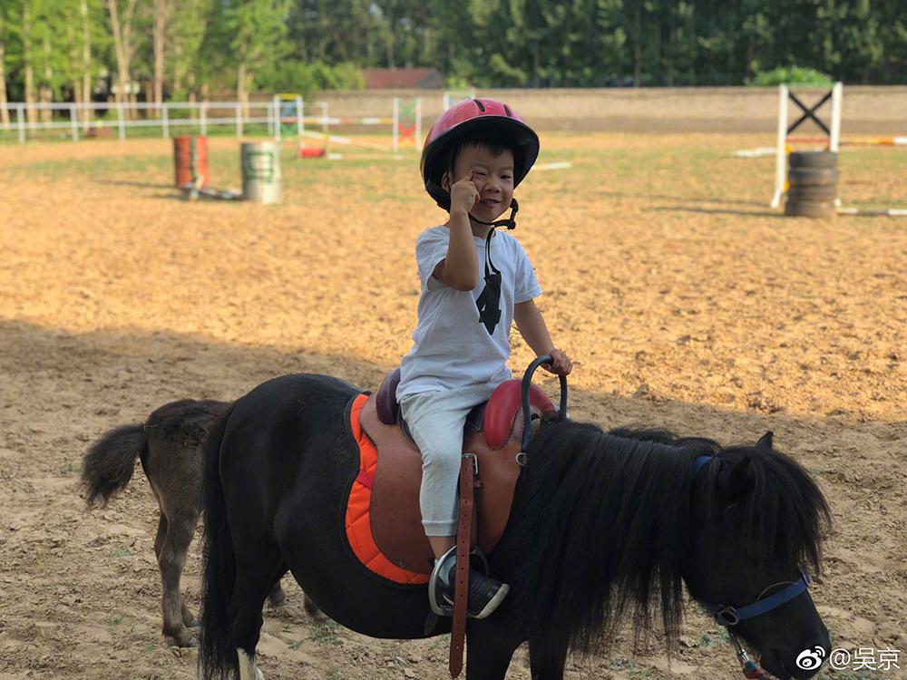 Khi chưa có dịch, Ngô Kinh thường đưa con đến phòng gym, leo núi, học cưỡi ngựa.