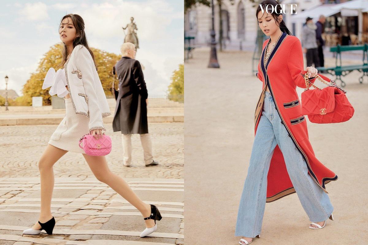 Thiết kế của Chanel 19 tạo cơn sốt trong cộng đồng tín đồ hàng hiệuthế giới, trong đó cóJennie (BlackPink) - ca sĩ Hàn được mệnh danh Thánh Chanel. Ảnh: Vogue.