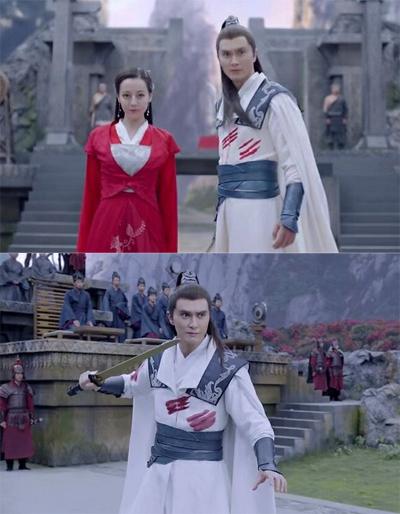 Vết máu trên trang phục Cao Vỹ Quang thay đổi trong một cảnh quay.