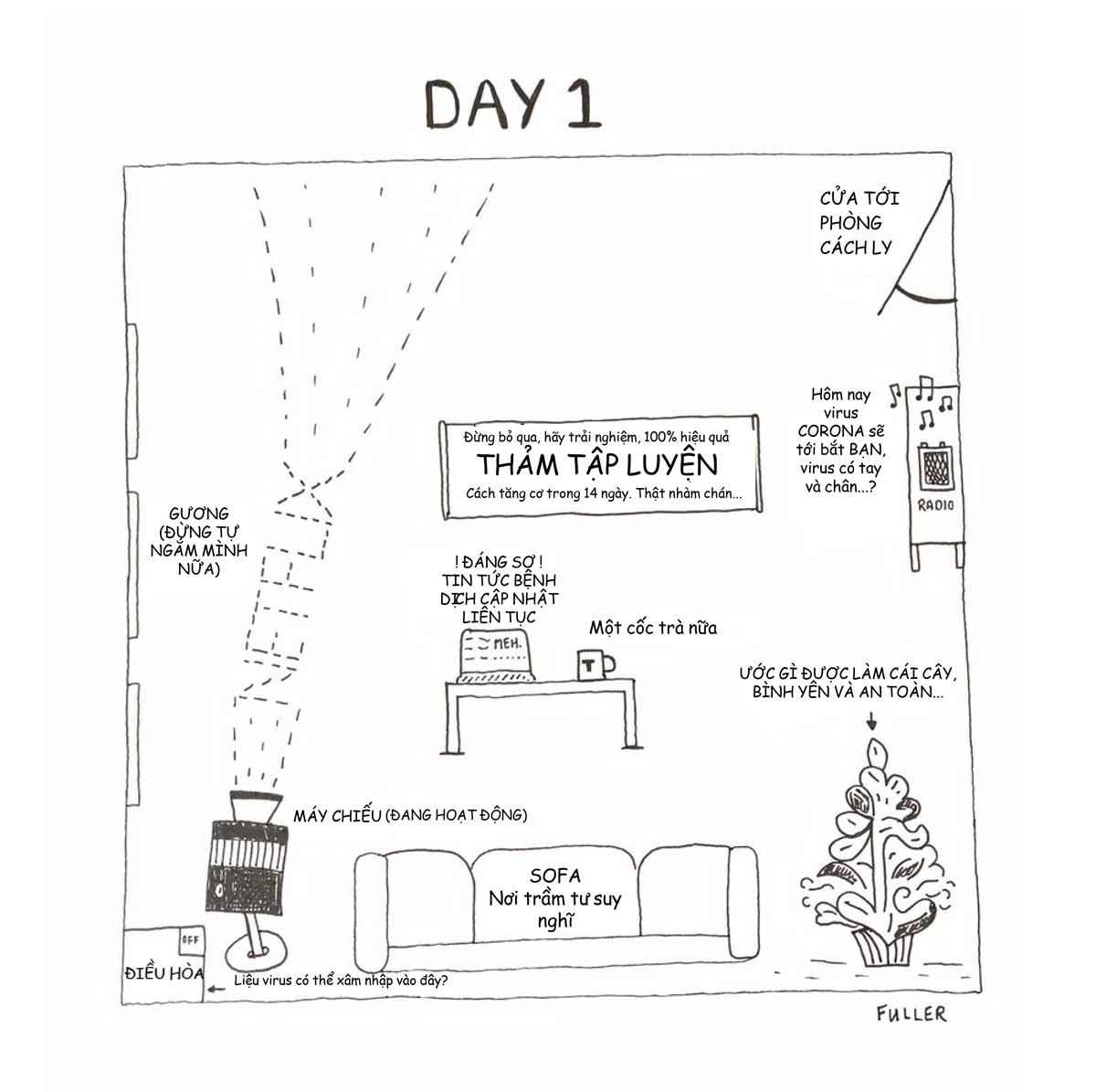 Họa sĩ tái hiện khung cảnh trong bốn bức tường ở ngày đầu cách ly (đã Việt hóa).