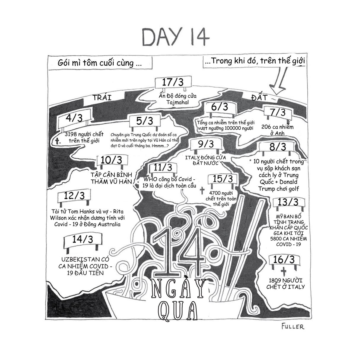 Ngày cuối cùng, Fuller vẽ bản đồtình hình dịch bệnh thế giới trong 14 ngày anh bị cách ly (từ ngày 3/3 – 17/3).