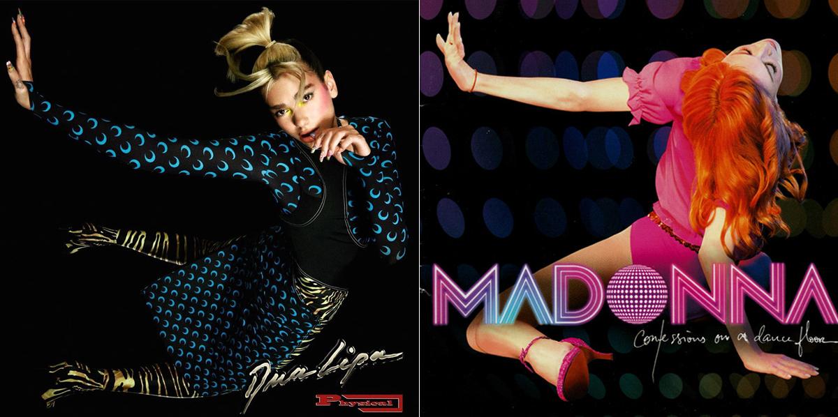 Bìa đĩa đơn Physical (trái) của Dia Lupa và bìa album Confession on a Dance Floor của Madonna.
