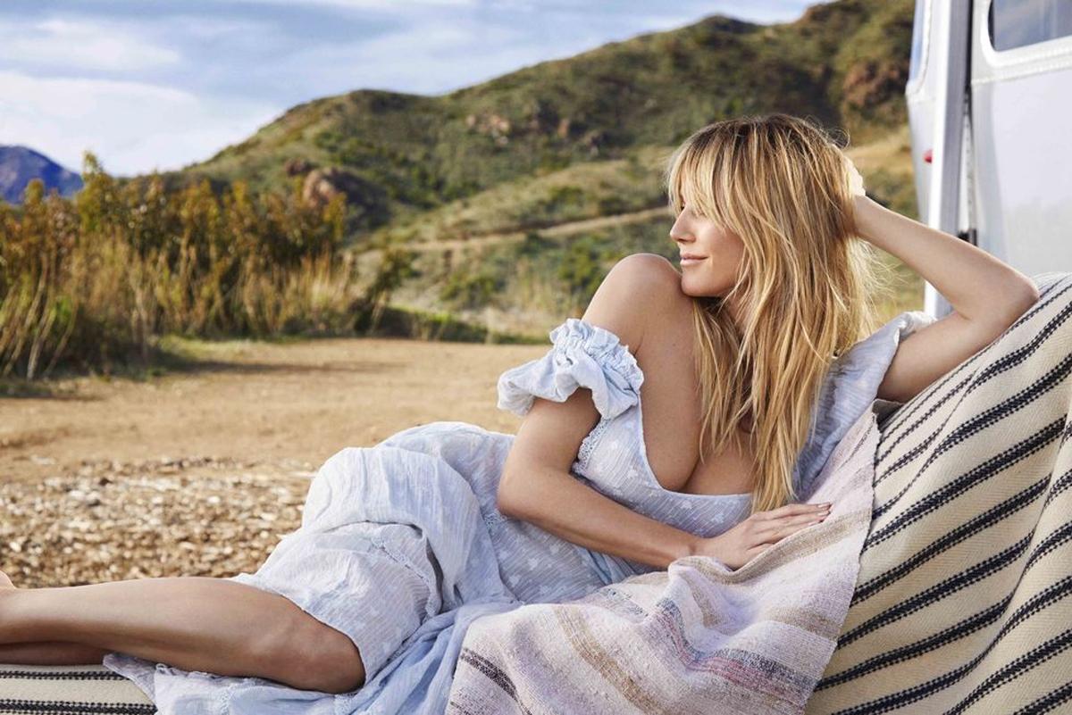Heidi Klum trong váy hở vai theo phong cách boho. Ảnh: Red Magazine.