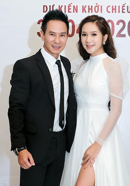 Vợ chồng Lý Hải tại buổi ra mắt dự án Lật mặt 5 vào năm 2019. Ảnh: Lê Tuấn.