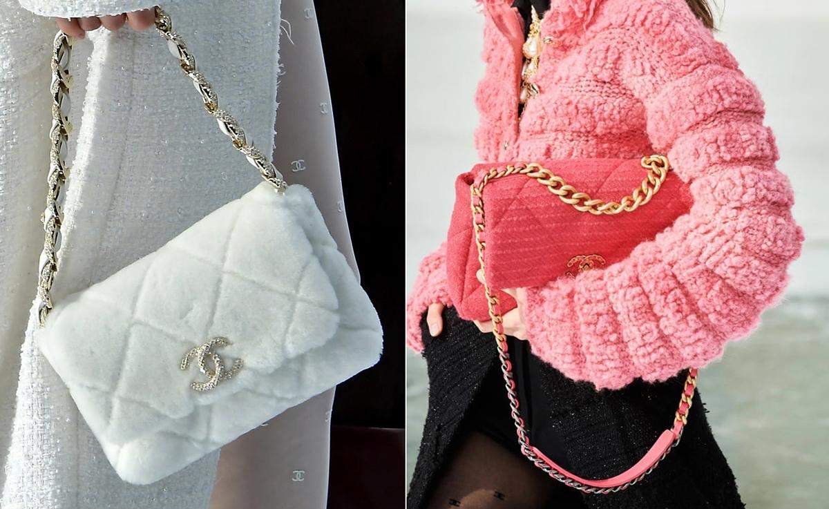 Chanel 19 - mẫu túi tạo xu hướng đầu năm nay cũng có mặt trong BST Thu - Đôngvới đa dạngchất liệu.