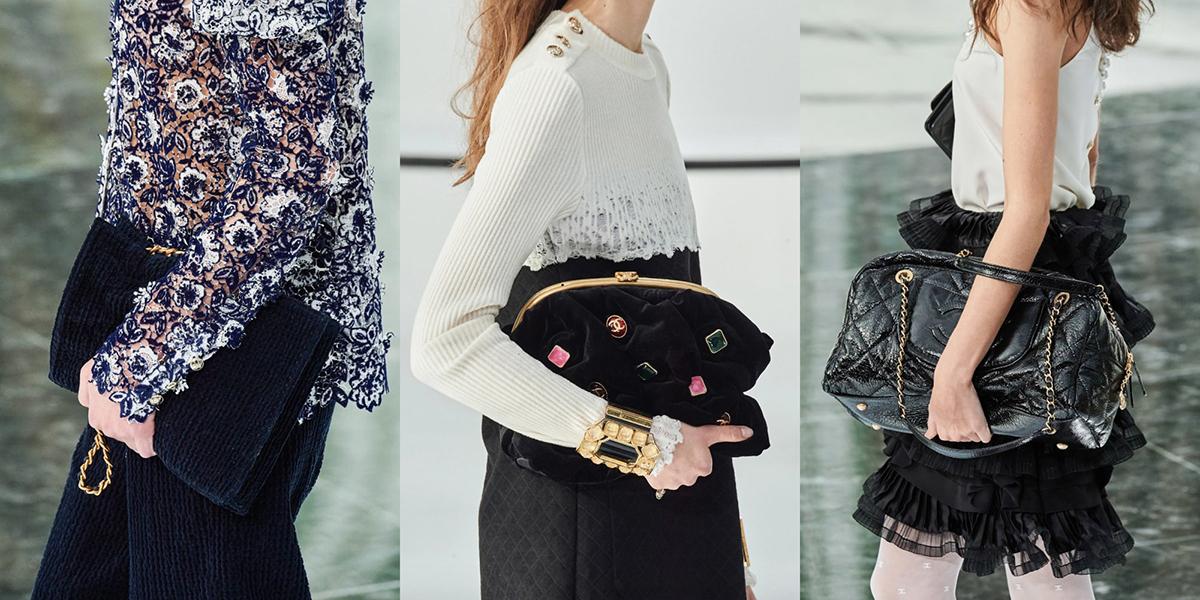 Xu hướng túi xách cỡ lớncầmtay như clutch vẫn gây sốt sàn diễn Chanel.