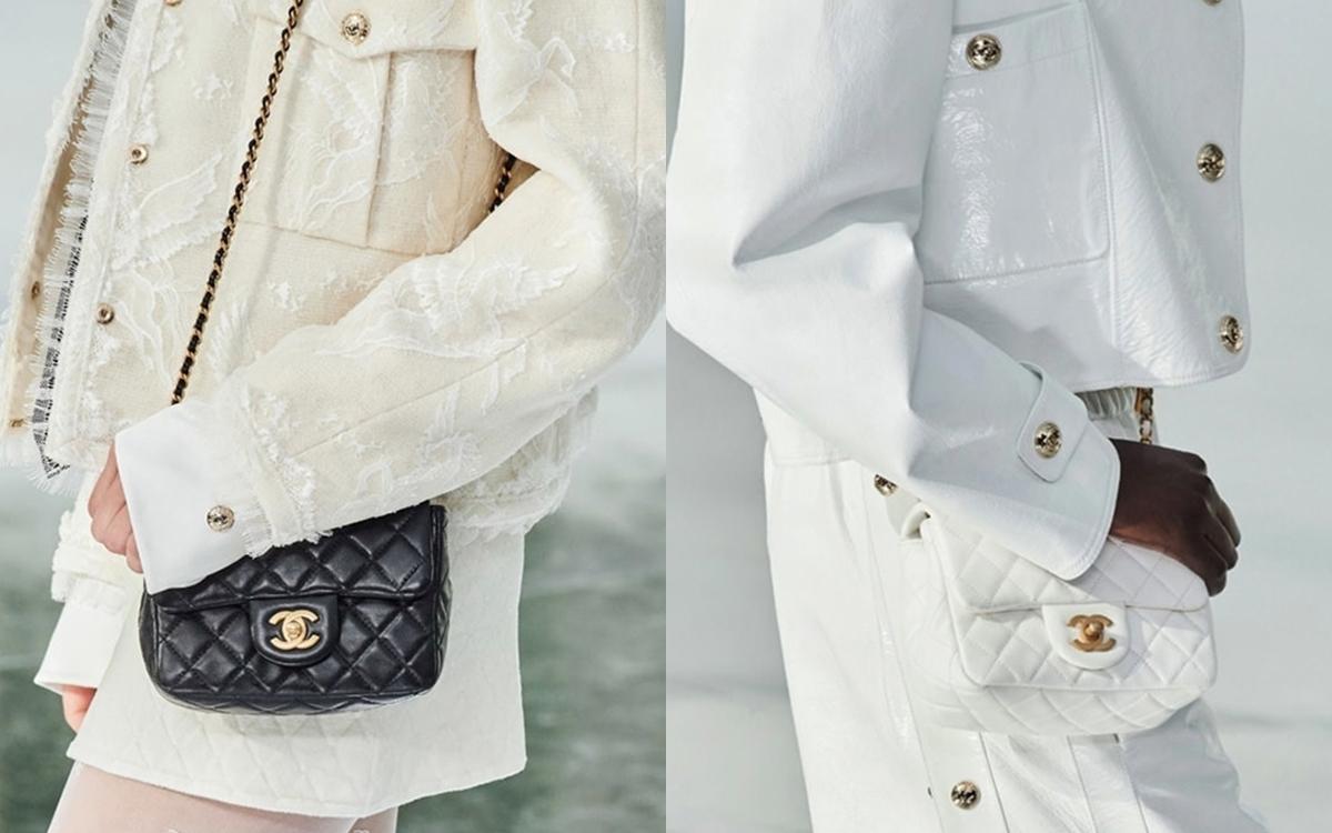 Nhà mốt tiếp tục lăng xê thiết kế Classic Mini Flap Bag với hai tôngtrắng đen. Đây là một trong những mẫu túi xách It Bag (biểu tượng) của Chanel.