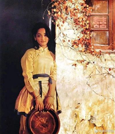 Châu Tấn làm mẫu bức tranh Tiểu Phương của Phan Hồng Hải. Ảnh: Sohu.