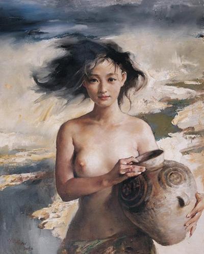 Bức tranh cô gái khỏa thân của Phan Hồng Hải. Ảnh: Sohu.