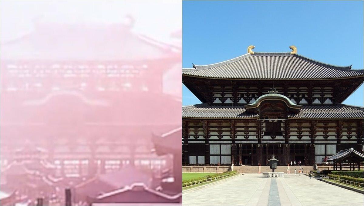 Cung điện hoàng gia của Đại Hàn đế quốc (trái) và chùa Todaiji ở Nhật Bản. Ảnh: Naver.