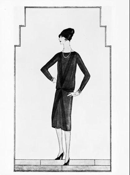 Chiếc váy đen đầu tiên của Chanel đăng trên tạp chí Vogue, đây cũng là lần đầu tiên thuật ngữ Little black dress được sử dụng. Ảnh: Chanel / Courtesy Vogue Paris.