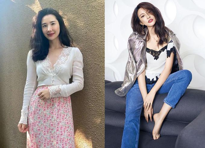 Vợ của Tưởng Phàm (trái) và người mẫu Trương Đại Dịch. Ảnh: Weibo.