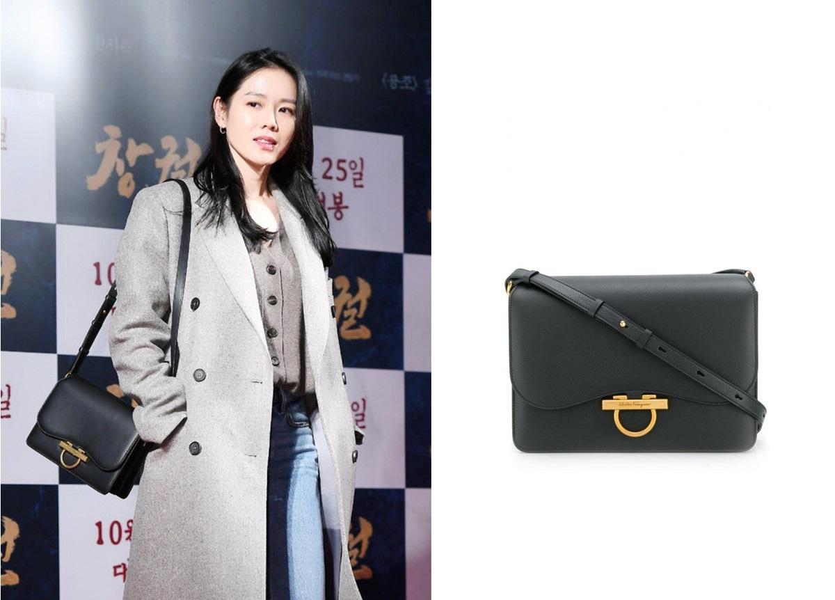 Son Ye Jin mix áo khoác, quần jeans với túi Salvatore Ferragamo tại buổi công chiếu Rampant - phim điện ảnh do Hyun Bin đóng chính.