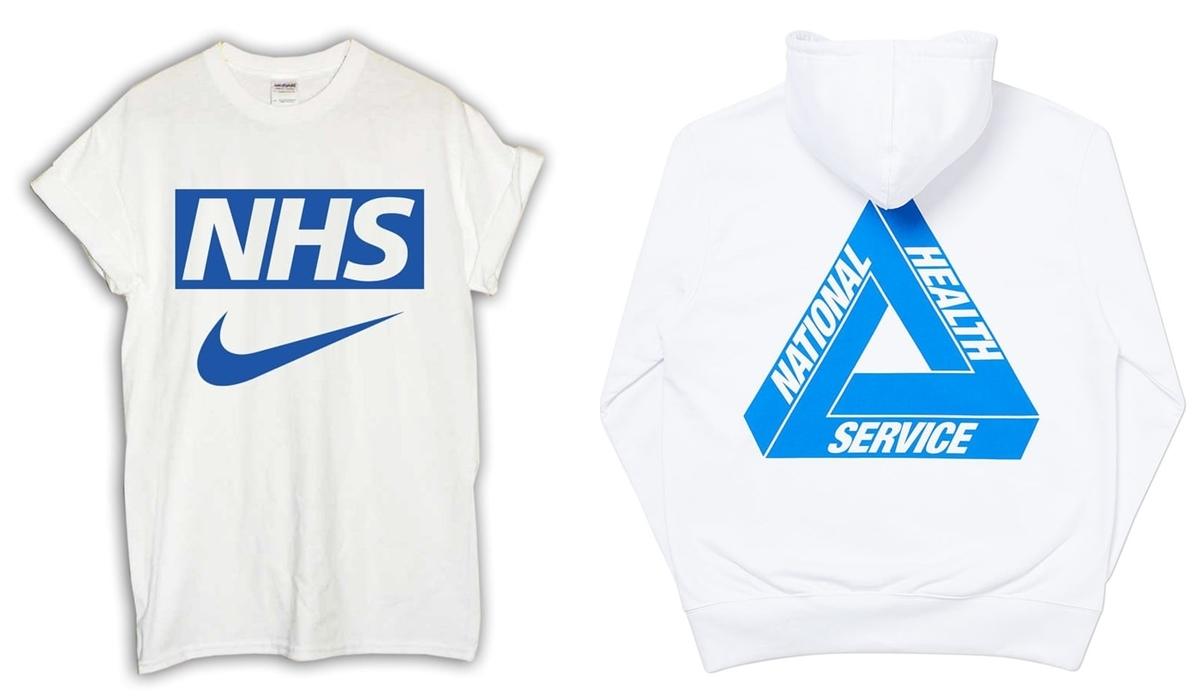 NHS trên áo phông của Palace vàSports Banger. Ảnh:Palace Skateboards, Sports Banger.