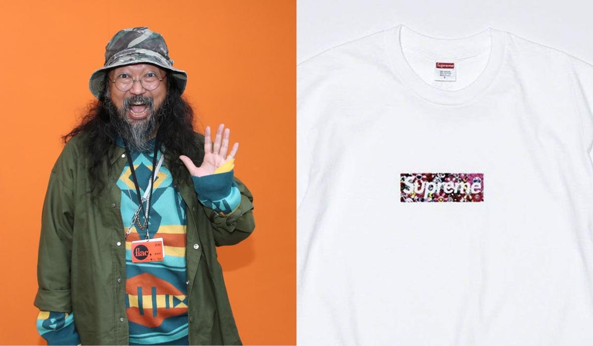 Áo phông của Supremehợp tác nghệ sĩ Nhật Bản Takashi Murakami (trái). Ảnh: Supreme.