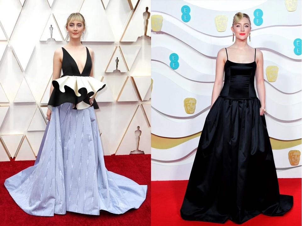 Váy của Saoirse Ronan (trái) khi tới Oscar 2020 được làm từ vải thừa trang phục ởBAFTA (phải). Ảnh: AFP.