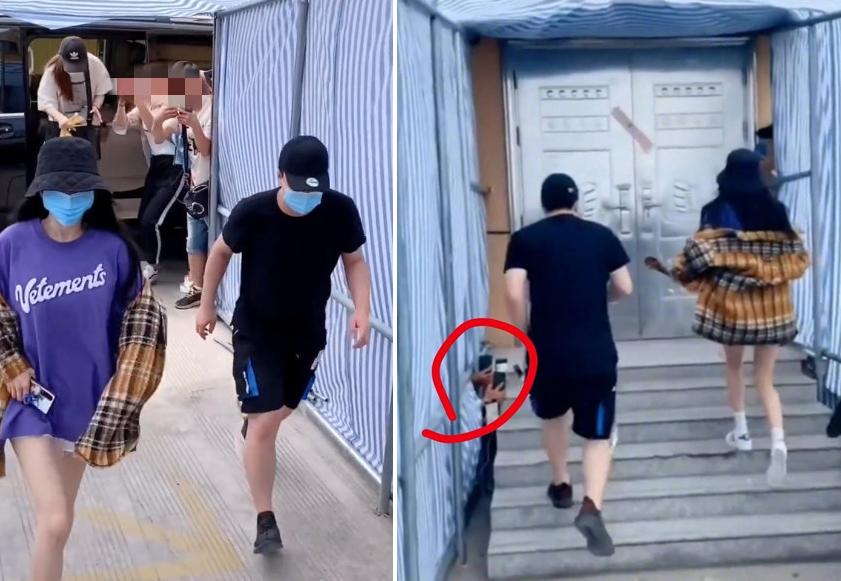 Dương Mịch (trái) bị nhiều người lén chụp ảnh khi ở đoàn phim. Ảnh: Weibo.