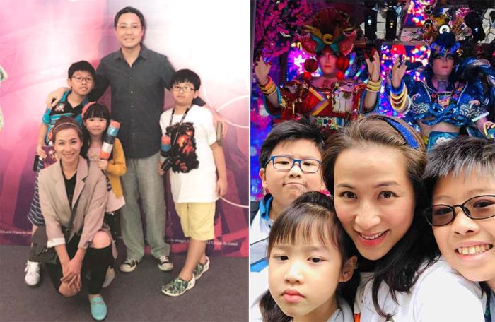 Mạch Gia Kỳ bên chồng con. Ảnh: Weibo.